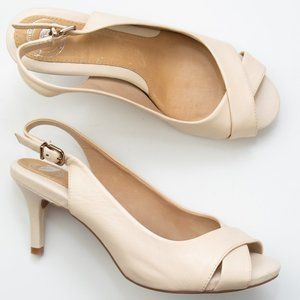 Nurture Cream Leather Slingback Open Toe Heels 7.5